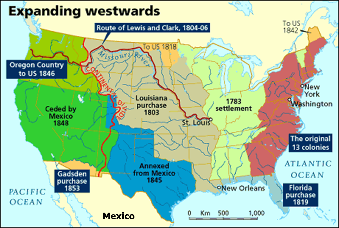 US Territorial Growth US Westward Expansion Through Maps - Map of us 1845