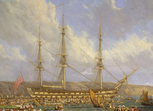 'Scene in Plymouth sound in August 1815' oil on canvas by John James Chalon, 1816